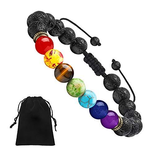PAERAPAK Lava Stone Chakra Bracelet - 7 Chakras 8mm Lava Rock Aromatherapy Essential Oil Diffuser Bracelet Men Women Stress Relief Yoga Beads Bracelet Bangle