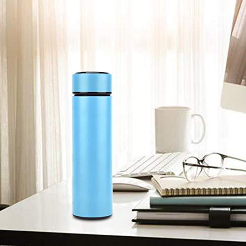 Omabeta mit Temperaturanzeige Wasserflasche Wasserbecher mit Teefilter für Büro für Camping(Light Blue)