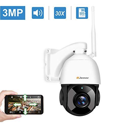 Jennov 3MP PTZ Überwachungskamera 30x Fach Digitaler Zoom 2304P WLAN IP Kamera 355° schwenkbar 100° neigbar Zweiwege-Audio 100m IR Nachtsicht IP66 wasserdicht APP Fernzugriff 32GB TF-Karte