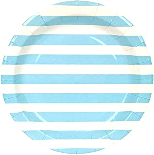 Just Artifacts Round Paper Party Plates 9-Inch (12pcs) - Baby Blue Striped - Decorative Tableware for Birthday Parties, Baby Showers, Grad Parties, Weddings, and Life Celebrations!