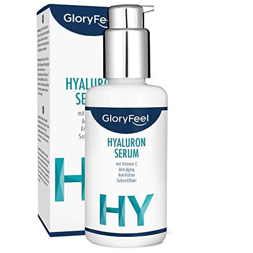 Hyaluronsäure Serum Hochkonzentriert 50ml + Vitamin C - Dermatologisch getestet - Natürliches Anti-Aging Gel mit Sofort-Effekt - Hochwirksam, Laborgeprüft und ohne Zusätze hergestellt in Deutschland