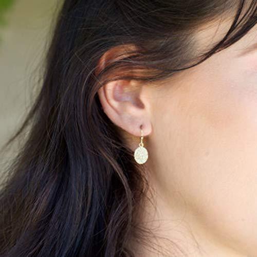 Yienate Boucles d'oreilles pendantes pendantes en forme de disque avec petites paillettes dorées pour femmes et filles