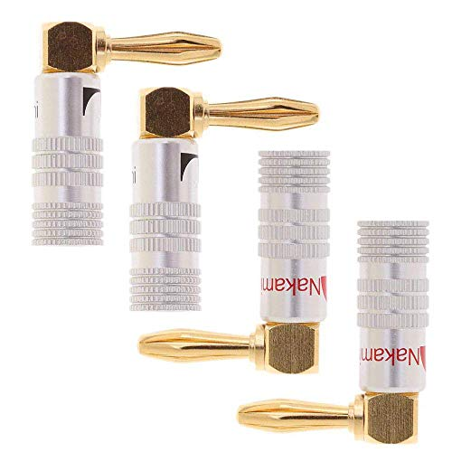 HKSMAN Lot de 4 adaptateurs Audio en Fil de cuivre tress/é Dor/é 2 mm