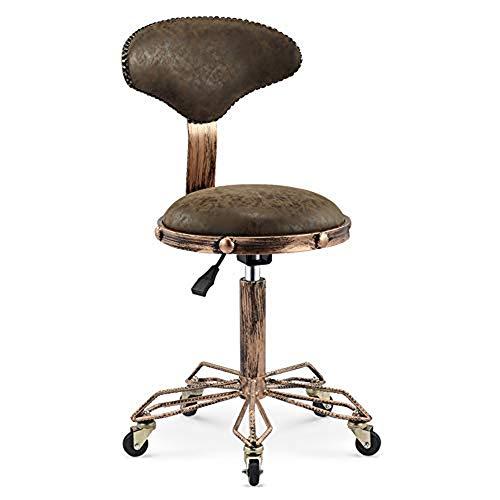 NanXi Taburete del salón de Belleza, sillón de Masaje Ajustable para Silla de una Silla con Ruedas, SPA Tatuaje Facial, Archivo,Marrón