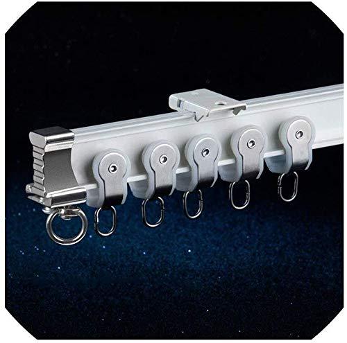 0110 Vorhang / Gardinenstange, strapazierfähig, flexibel, aus Legierung, geräuschlos, für Erkerfenster, Aluminium, 100 cm, Ivory Single C