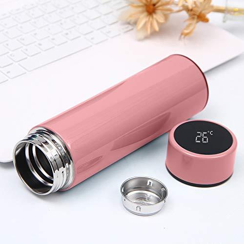 Termos botella isotérmica 500 ml indicador de temperatura digital para bebida caliente té café de acero inoxidable termostato anticorrosión para desplazamiento, viaje oficina (rosa)