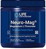 Life Extension Neuro-Mag L-Threonate (Tropical Punch) Powder with Ultra-Absorbable Magnesium, Memory, Focus & Overall Cognitive Performance Boost - Non-GMO, Gluten-Free - 3.293 oz (30 Servings)