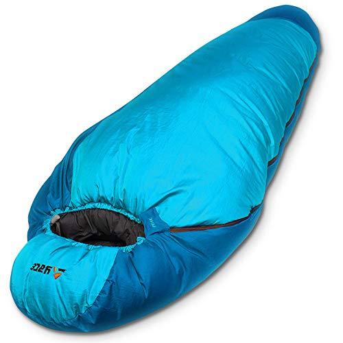 Aven Peak XXL Mumienschlafsack 230cm Extrem Schlafsack Schlafsäcke Expeditionsschlafsack wasserabweisend Erwachsene für Winter max. -32°C blau