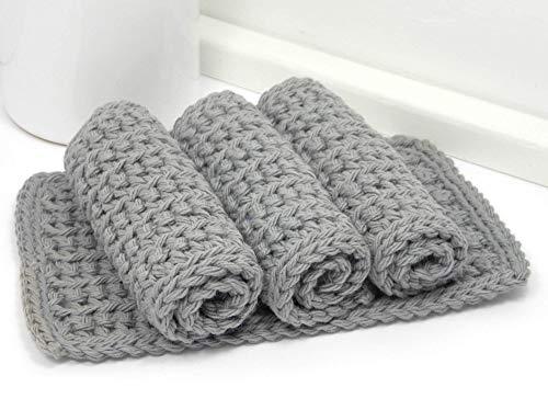 Set of 4 Handmade Grey 4 inch x 7 inch Rectangular Crochet Cotton Dishcloths, Gray Dishrags