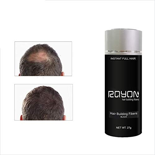 Rayon Hair Building Fibers for Thinning Hair - 100% Undetectable Natural Formula - Completely Conceals Hair Loss in 30 Seconds - 27gm (Black)