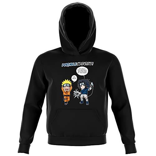 Sweat-Shirt à Capuche Enfant Noir Parodie Naruto - Naruto et Sasuke - Portable No Jutsu ! (Sweatshirt de qualité Premium de Taille 11-12 Ans - imprimé en France)