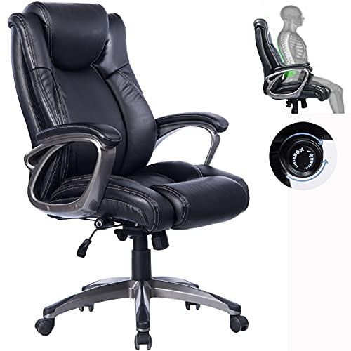 REFICCER High Back Big & Tall Office Chair, Ergonomic Design for Adjustable Lumbar Support Rocking Chair Tilt Angle Swivel Breathable Bonded Leather Computer Task Desk Chairs for Office Home