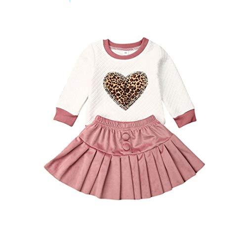 Kleinkind Kinder Baby Mädchen Valentinstag Outfits Blumen Leopard Herz Langarm Shirt Bluse Top + Minirock Kleidung Set