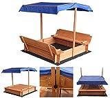 Home Deluxe - Sandkasten Buddelkiste - Mit verstellbarem Dach und Bodenplane - Maße: 130 x 120 x...