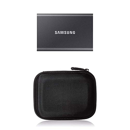 Samsung T7 Portable SSD - 500 GB - USB 3.2 Gen.2 Externe SSD Titan Gray (MU-PC500T/WW) + Amazon Basics Festplattentasche, schwarz