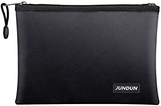 """JUNDUN Fireproof Document Bags,13.4""""x 9.4""""Waterproof and Fireproof Money Bag,Fireproof Safe Storage Pouch with Zipper for A4 Document Holder,File,Cash and Tablet"""