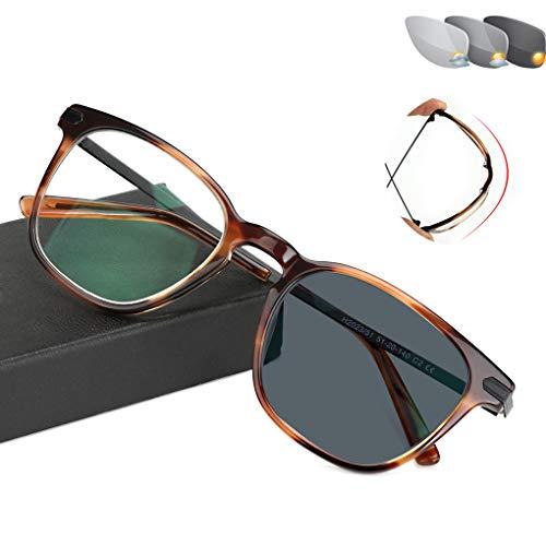 Eyetary Männer Frauen Trendy Klassische Bifokale Lesebrille - Photochromic Sonnenbrillenleser, Flexibel biegbarer Rahmen/Flache Linse/Anti Glare/Vergrößerung 1,0 bis 3,00 Stärke,Tortoise,+2.0