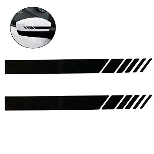 VORCOOL Auto Rückspiegel Außenspiegel Aufkleber Set Vinyl Streifen Aufkleber Reflektierende 2 STÜCKE (Schwarz)