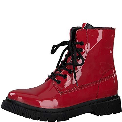 Tamaris Damen Stiefel, Frauen Schnürstiefel,lose Einlage, Ladies Women's Women Woman Freizeit leger Boots Combat weiblich,RED PATENT,36 EU / 3.5 UK