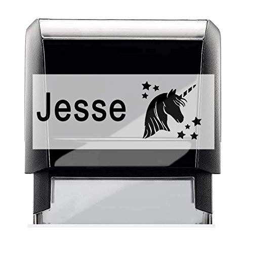 Custom Kids Name Stamp Self-Ink with a Unicorn Head with Stars Image. Sign Off Letters and Impression Size Approx. 3/4' x 1 7/8'