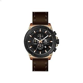 T5 H3475G-D Leather Round Analog Watch for Men - Dark Brown