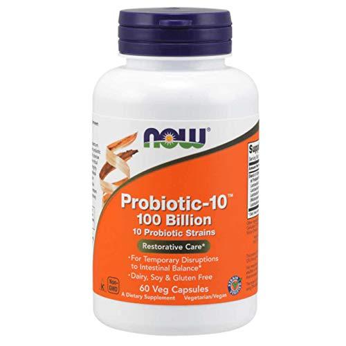 NOW Supplements, Probiotic-10 100 Billion with 10 Probiotic Strains, 60 Veg Capsules
