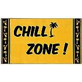 "Delindo Lifestyle® Tropical Toalla de playa, XXL, 100% algodón, 100 x 180 cm, diseño con texto ""Chill Zone"", color amarillo"