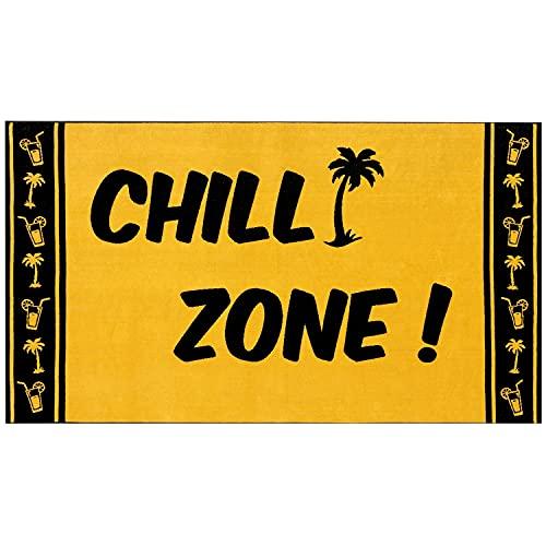 Delindo Lifestyle® Frottee Strandtuch Tropical CHILL Zone GELB, 100% Baumwolle, Strandlaken ist 100 x 180 cm groß
