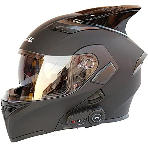HVW Casco Integral para Motocicleta, Casco De Motocicleta Abatible Modular con Bluetooth Integrado Cuernos Antiniebla Doble Visera Aprobado por Dot Casco Carreras con Doble Visera,D,XXL63to64cm