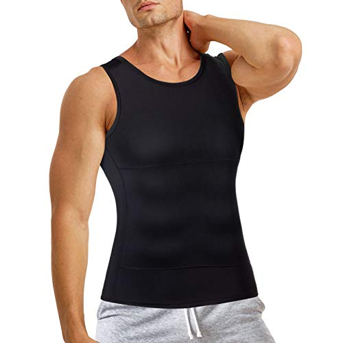 TAILONG Compression Shirt for Men Slimming Body Shaper Sport Vest Workout Tank Top Athletic Undershirt (Black, Large)