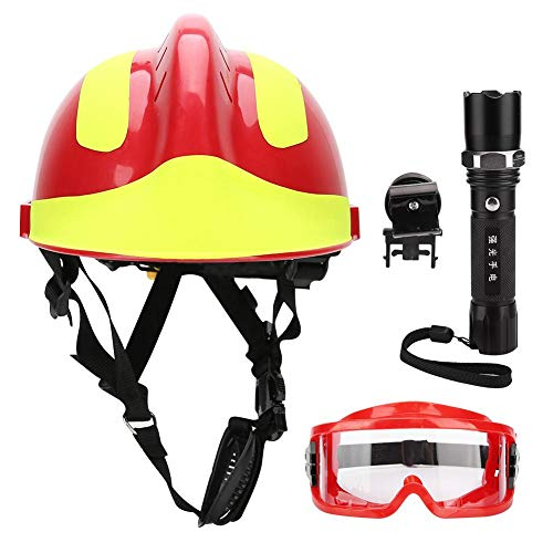 Casco de protección, casco de seguridad para rescate profesional, casco antiincendio, antigolpes, casco con linterna frontal y gafas (rojo)