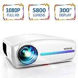 Vidéoprojecteur, WiMiUS 5800 Lumens Rétroprojecteur Full HD 1920 x 1080P Natif...