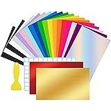 24 Láminas de Vinilo Permanente con Dorso Adhesivo 30,5x20,5cm ,Vinilo Adhesivo 19 Colores Funciona...