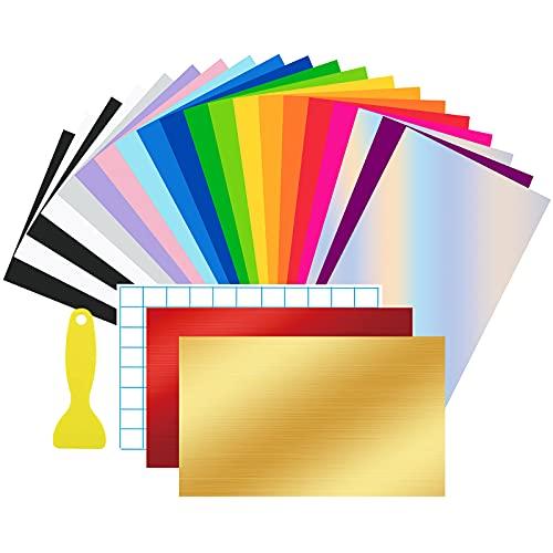 24 Láminas de Vinilo Permanente con Dorso Adhesivo 30,5x20,5cm ,Vinilo Adhesivo 19 Colores Funciona con Cricut y Otros Cortadores