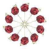 10pcs Wedding Lapel Flower Pin Rose for Man Suit Decoration - wine red