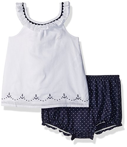 Nautica Baby Girls' Novelty Woven Top with Bottom Set, Sail White, 6/9 Months