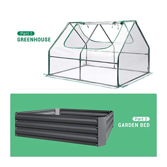 Quictent 49''x37''x36'' Extra-Thick Galvanized Steel Raised Garden Bed Planter Kit Box with Greenhouse 2 Large Zipper… 2 √【Dual Use Raised Bed】Use the raised garden bed and greenhouse together to keep plants warm and growing in winter and spring. Or move the greenhouse to keep other small plants to grow, do as your need. Give you more freedom to use these two parts. √【Extra-thick Reinforced Galvanized Steel】--- 0.5mm thickness galvanized side, 1.0mm galvanized sheet for corner, 11.8inch in height, perfect size with extra-thick steel, stable for using at least 5 years. √【Eco-friendly Galvanized Paint】--- Use eco-friendly galvanized paint, efficiently prevent rust; And with the advanced dark grey, the most popular color, give your garden more beauty. Also never worry about that pest and rain damage the wood garden bed; galvanized steel garden bed provides lasting use and no discoloration.