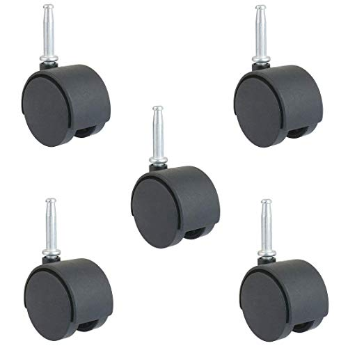 2-Inch Stem Caster Wheels, Stem 8 x 38mm or 5/16-Inch Diameter and 1.5 inch Long - Pack of 5(CasterStem50_8x38)