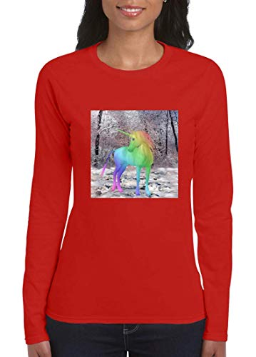 Druckerlebnis24 - Camiseta de manga larga para mujer (manga larga), diseño de unicornio, multicolor rojo XL