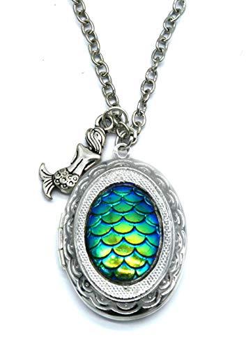schmuck-stadt Meerjungfrau Cabochon Amulett Kette 60 cm Silber-Farben Modeschmuck