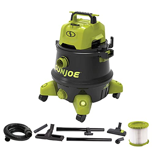Sun Joe SWD8000 8-Gallon 1200-Watt 6.5 Peak HP Wet/Dry Shop Vacuum, HEPA Filtration, Wheeled w/Cleaning Attachments, for Home, Workshops, Pet Hair and Auto Use, 8 Gal, Black/Green