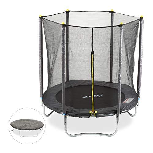 Relaxdays 3 TLG. Outdoor Trampolin Set, Gartentrampolin Ø 183 cm, bis 150 kg, Sicherheitsnetz 6...