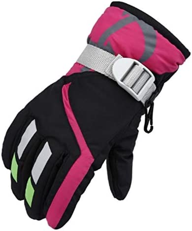 Jiangym Clothing & Beauty Outdoor Children Thick Warm Skiing Gloves, One Pair(Rose Red) Clothing & Beauty (Color : Black)