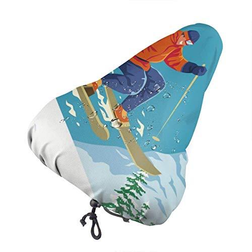 Du-shop Funda Impermeable para Asiento de Bicicleta Skier Jump con cordón, Resistente a la Lluvia y al Polvo