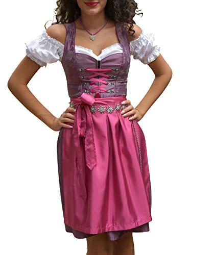Golden Trachten-Kleid Dirndl Damen 3 TLG, Midi für Oktoberfest, mit Schürze und Bluse 486GT,Lila,36