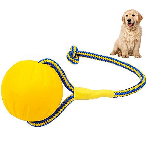 FANDE Bolas para Perros, Pelota para Perros con Cuerda, Pelota para Mordedura de Molar para Mascotas, 7 CM, Indestructible, para Perros y Gatos (Amarillo)
