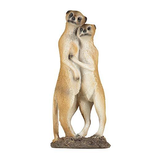 1PLUS Gartenfigur Erdmännchen Paar, aus Kunstharz/Polyresin, Figur für den Garten/Außen-Bereich