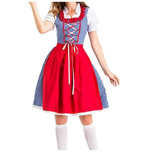 Damen Dirndl Kleid für besondere Anlässe Oktoberfest Karneval Midi Dirndl Spitzen Dirndlschürze Damen Lange Kleid Chiffon Blumendruck Sommerkleid Loose Sommerkleid Frauen Kurz Kleider