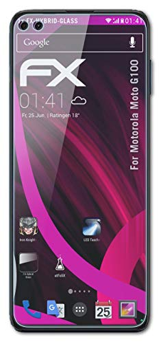 atFolix Glasfolie kompatibel mit Motorola Moto G100 Panzerfolie, 9H Hybrid-Glass FX Schutzpanzer Folie