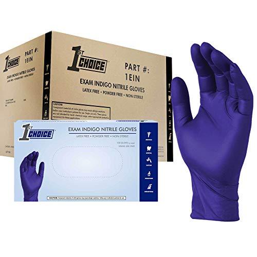 1st Choice Safety Indigo Nitrile 4 Mil Thick Disposable Gloves Large Case of 1000 Exam Medical Latex Free Indigo Large